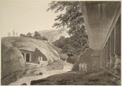 Caves 10 and 12 Kanheri, Salsette: Cave 10, the 'Darbar Hall', on the right, Cave 12 on the left. 20 July 1793